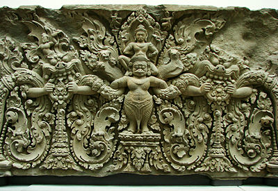 Khmer lintel in Preah Ko style, late 9th century, reminiscent of later European scrollwork styles Linteau Musee Guimet 25972.jpg