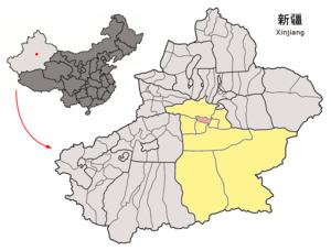 Yanqi Hui Autonomous County - Location of Yanqi County (pink) and Bayin'gholin Prefecture (yellow) within Xinjiang