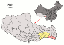 Location of Zayü County within Nyingchi Prefecture, Tibet, and the PRC