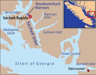 Skookumchuck Narrows A strait forming the entrance of Sechelt Inlet on British Columbias Sunshine Coast in Canada