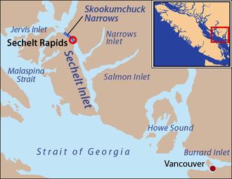 Skookumchuck Narrows - Sechelt Inlet, with Skookumchuck Narrows highlighted and Sechelt Rapids circled.