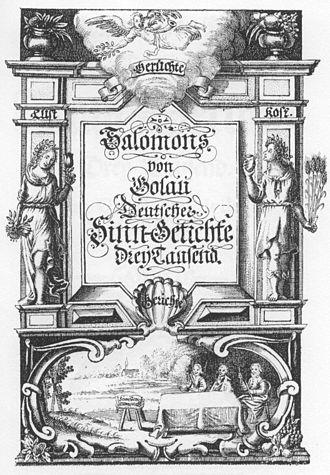 Friedrich von Logau - Sinngedichte, copperplate title print, 1654