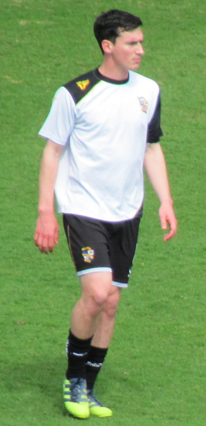 Louis Dodds - Dodds warming up for Port Vale before the match against Northampton Town on 20 April 2013.