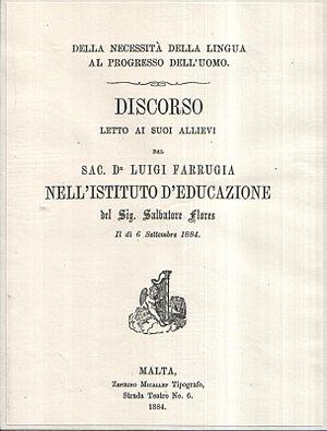 Louis Farrugia - Della Necessità della Lingua al Progresso dell'Uomo (1884) by Louis Farrugia