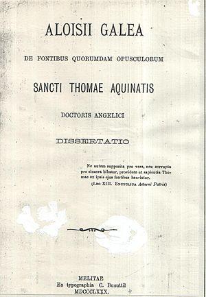 Aloisio Galea - Aloisio Galea's 1880 De Fontibus