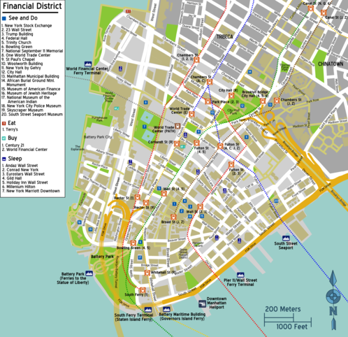 Map Of New York Downtown Manhattan.Manhattan Financial District Travel Guide At Wikivoyage