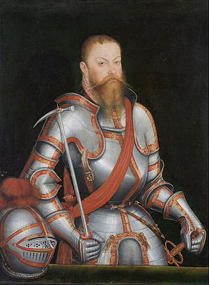 Maurice, Elector of Saxony - Portrait of Maurice in armour, by Lucas Cranach the Younger.