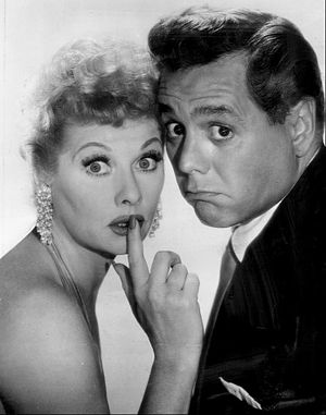 Film still - A publicity photograph of actors Lucille Ball and Desi Arnaz