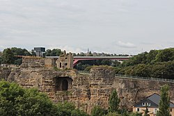 Luxembourg City Bock and G-D-Charlotte bridge 2013-08.JPG