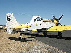 Agricultural aircraft - Polish M-18 Dromader waterbomber used in Western Australia.
