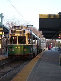 MBTA 3656 inbound at Riverside, April 2005.jpg
