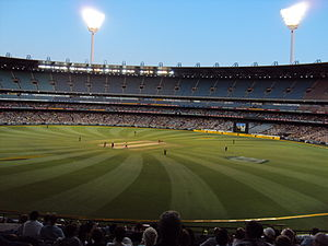 One Day International - An ODI match at the MCG, being played under floodlights.