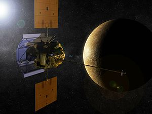 2011 in the United States - March 18: Artist's rendering of NASA's MESSENGER orbiting Mercury
