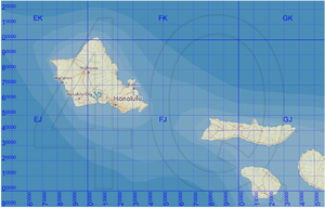 Military Grid Reference System - Figure 2. The MGRS grid around Hawaii. Honolulu is in the 10 km square that is called 4QFJ15.