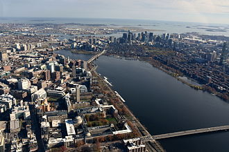 Greater Boston - Cambridge and Boston; MIT and Kendall Square in the foreground, and Boston's Financial District in the background