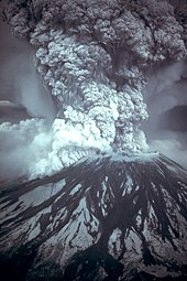 A billowing cloud of volcanic gas erupts from the Mount St. Helens volcano on May 18, 1980.