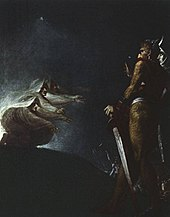 Dark painting showing two figures encountering witch-like creatures.