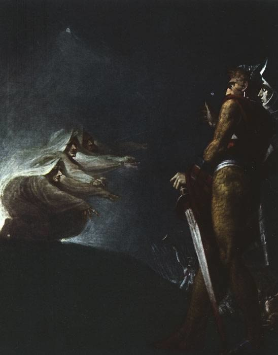 Macbeth and Banquo with the witches JHF