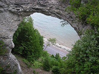 Mackinac Island - A view of M-185 through Arch Rock