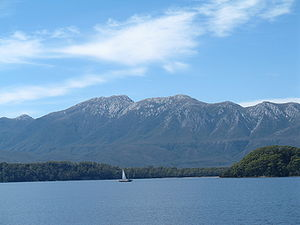 Macquarie Harbour - A view across Macquarie Harbour (Mount Sorell at rear).