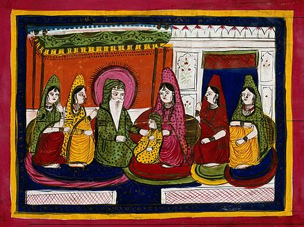 Maharaja Ranjit Singh with some of his wives. Maharaja Ranjit Singh with wives Wellcome V0045197.jpg