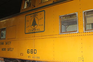 Maine Central Railroad Company - Maine Central rail car on display at the Cole Land Transportation Museum in Bangor, Maine