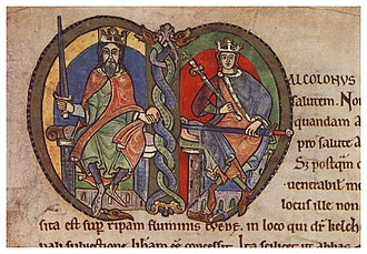Malcolm IV of Scotland - David I (left) with the young Malcolm IV (right) depicted on the charter to Kelso Abbey.