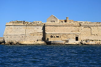 Coastal erosion - Fort Ricasoli in Kalkara, Malta already showing signs of damage where the land is being eroded