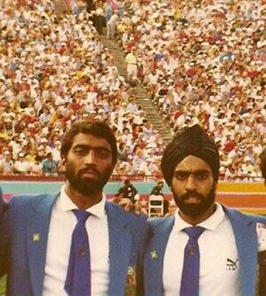 Kenya at the 1984 Summer Olympics - Manjeet Panesar and brother Jitender at the 1984 Summer Olympics, representing the Kenya men's national field hockey team