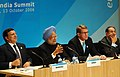 Manmohan Singh addressing a Joint Press Conference at India –EU summit in Helsinki, Finland. The President of the European Commission Mr. Barroso, the Prime Minister of Finland.jpg