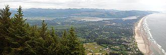 Manzanita, Oregon - View of Manzanita and Nehalem Bay from Neahkahnie Mountain.