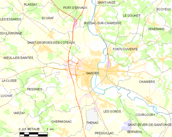 Map of the commune of Saintes