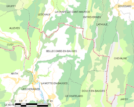 Mapa obce Bellecombe-en-Bauges