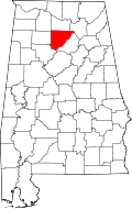 Map of Alabama highlighting Cullman County