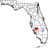 Kart over Florida med DeSoto County uthevet