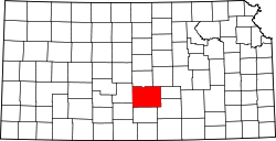 map of Kansas highlighting Reno County