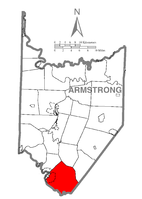Map of Armstrong County, Pennsylvania highlighting Kiskiminetas Township