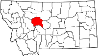 Map of Montana highlighting Cascade County