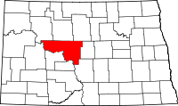 Map of North Dakota highlighting McLean County