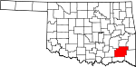 State map highlighting Pushmataha County