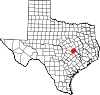 State map highlighting Milam County