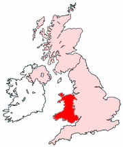 Wales's location within the UK