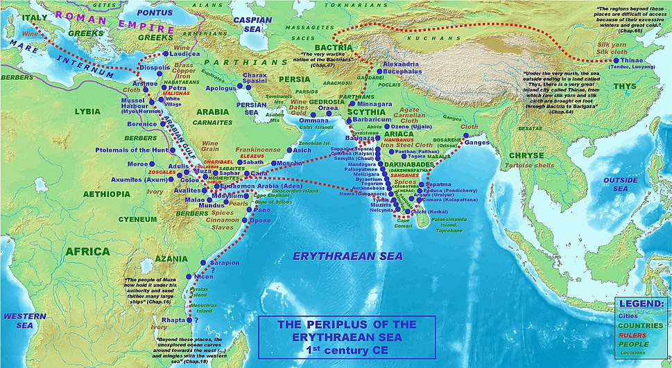 Map of the Periplus of the Erythraean Sea