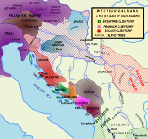Travunija - Map of the Western Balkans around 814 AD.