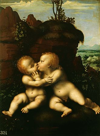 The Holy Infants Embracing - Version by Marco d'Oggiono in the Royal Collection