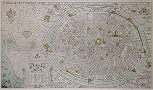 Gracht - Old map showing the grachten of Bruges; the singels are clearly visible