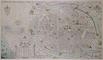 Marcus Gheeraerts the Elder - Gheeraert's birds-eye view of Bruges, Flanders in 1562