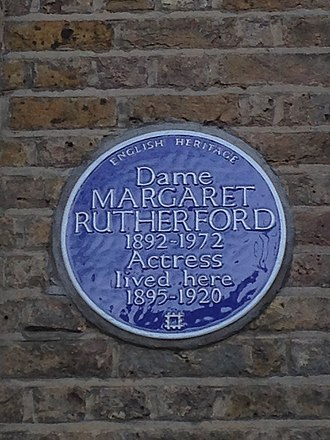 Margaret Rutherford honour plaque in London Margaret Rutherford plaque.jpg