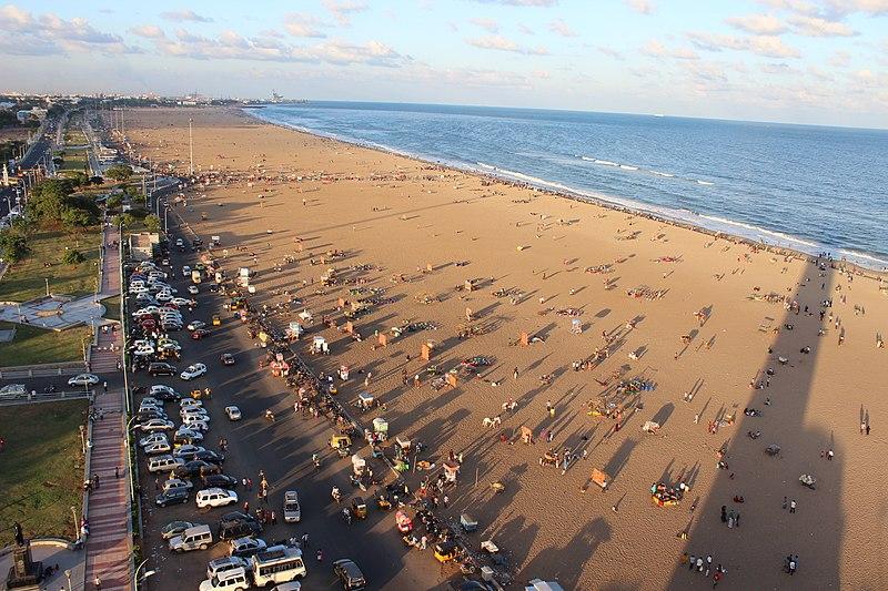 File:Marina Beach as seen from Light house..JPG