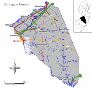 Map of Marlton CDP in Burlington County. Inset...
